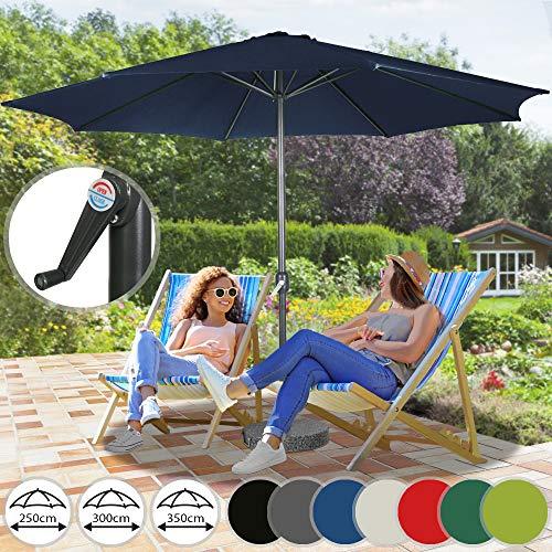 Miadomodo Parasol de Jardin | Ø2,5/3 / 3,5m, Diverses Couleurs au Choix, Inclinable, avec Manivelle | Parasol pour Patio, Jardin, Balcon, Piscine, UV Solaire Protection