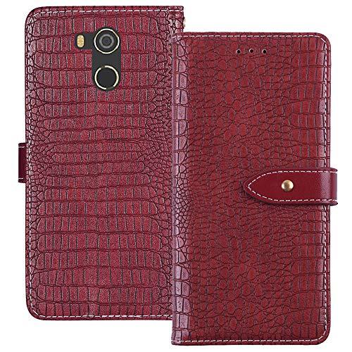 YLYH HandyHülle Für BluBoo D5 Pro 5.5 inch Leder Tasche Cover Flip Brief Schütz Hülle Abdeckung Case Etüi Standfunktion Rot