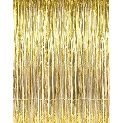 AMFIN (Pack of 2) Party Golden Metallic Fringe Foil Curtain 2.5Ft By 5Ft Birthday Decoration, Decoration for Weddings, Engagement, Baby Shower, 1st Birthday, Anniversary Party, Bachelors Party, Office Party, Diwali - 2.5Ft By 5Ft Curtains