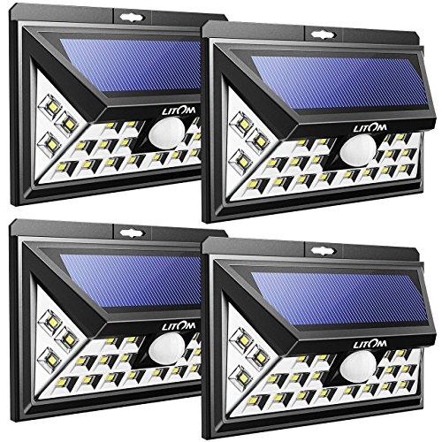 Litom Solarleuchte 24 Größe LED Außen, 3rd Generation Weitwinkel Bewegungsmelder für Garten,Garage, Hof, Haus, Terrasse 4 Stück