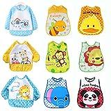 9 Baberos Impermeables Bebe Baberos 3 con Mangas Impermeables Larga Unisex Para Bebés Niños/Niñas de 6 Meses a 3 Años (9 Baberos : 3 de Ellos con Mangas)