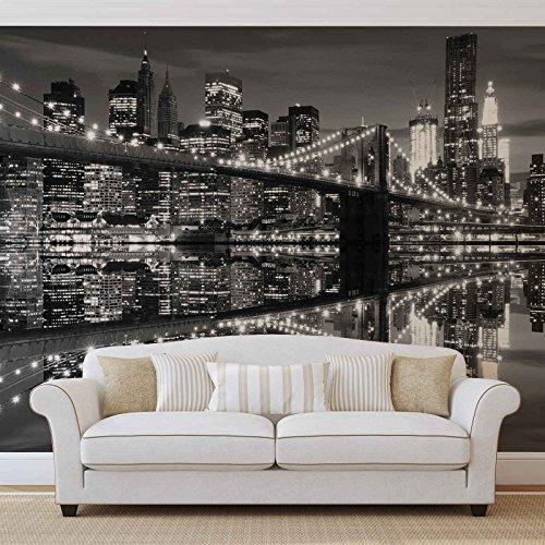 New York City Skyline Brooklyn-Bridge- Forwall - Fototapete - Tapete - Fotomural - Mural Wandbild - (1819WM) - XXL - 312cm x 219cm - VLIES (EasyInstall) - 3 Pieces