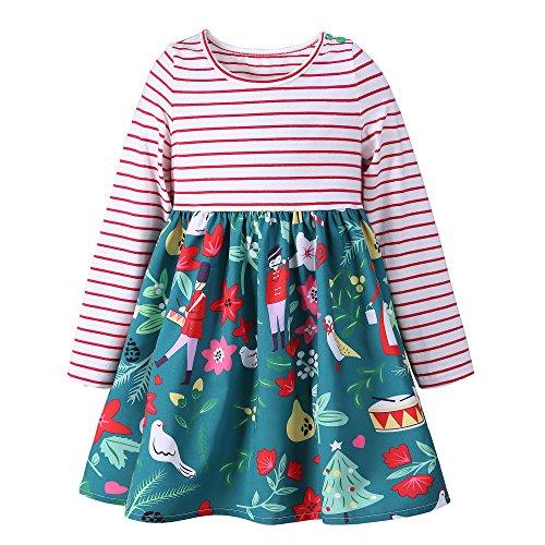 neck Langarm Kleid Sommer Drucken Baumwolle Cartoon T-Shirt Kleid 1-7 Jahr (4 Jahr, Family) (1 2 Jahre Halloween-kostüm)