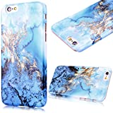iPhone 6S Cover,iPhone 6 Case, GrandEver Hard Back PC Cover for Apple iPhone 6S 6 Marble Pattern Design Rigid Plastic Case Ultra Slim Fit Flexible Snap On Cover Marble Natural Stone Gloss Plastic Shell for Apple iPhone 6S/iPhone 6 (4.7