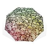 GUKENQ Regenschirm, Gothic-Totenkopf-Design, leicht, Anti-UV-Schutz, Sonnenschirm, Regenschirm, für Herren, Damen, Kinder, Winddicht, Faltbar, kompakt