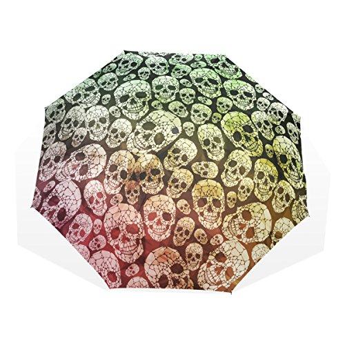 GUKENQ Paraguas de Viaje gótico con Calavera, Ligero, Anti Rayos UV, Paraguas de Lluvia para Hombres, Mujeres, niños, Resistente al Viento, Paraguas Compacto