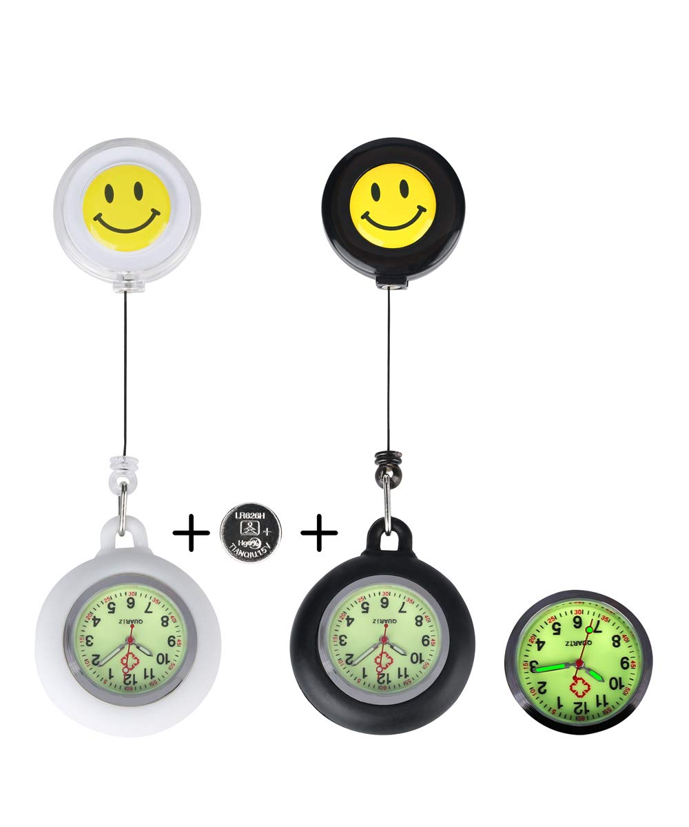 Pcs2 Unisex Luminous Nurse Fob Watch Glow with Whole Dial & Pointer, Retractable Digital + 1 Extra Battery Pocket Watch, Cheerful Smile Face Clip on Pocket Brooch Watches Doctors Nurses Gift