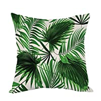 Yisumei Cushion Cover Home Decor Decorative Pillow Case Sofa Throw Pillow Cases Realistic Living Palm Leaves, Polyester, Zwillinge Drucken, 40x40 CM