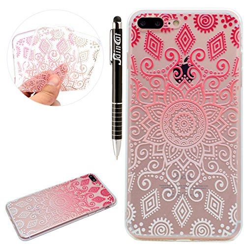 Custodia iPhone 7 Plus, iPhone 7 Plus Cover Silicone, SainCat Custodia in Morbida TPU Protettiva Cover per iPhone 7 Plus,Creative Design Transparent Silicone Case Ultra Slim Sottile Morbida Transparen Symphony fiore rotondo