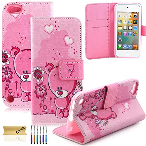 iPod Touch 5/6Fall, dteck (TM) Süßes PU-Leder Ständer Wallet Magnet Case [Karten/Geld Halter] Flip Zusammenklappbar für Apple iPod Touch 5. 6. Gen 10,2cm, 3 Pink Bear