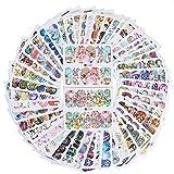 AIUIN 50 Stück Nail Art Plates Stamping Water Transfer Nagel Sticker Wasser Aufkleber Tattoo Nageldesign Maniküre Vanyda Stempel Schablonen,Mit einer AIUIN Tasche