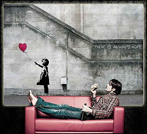 Poster banksy art balloon gril poster decorative there is for Stencil x cucina