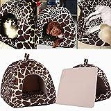 Demiawaking Weiche Haustier Schlafsack Hundehütte Katzenhöhle Hund Katze Haus (S, Leopard Farbe)