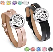 Maromalife 2PCS Diffuser Bracelet Essential Oil Aromatherapy Diffuser Locket Jewelry Oil Diffuser Locket Leather Wristband Diffuser Bracelet Confidence Relief Stress Gift Sets for Women, Girls