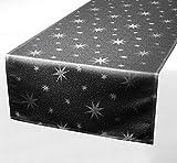 Lurex Tischläufer, Silber glänzende Sterne, Eckig 40x140 cm, grau-silber, Weihnachtstischband, Farbe und Größe wählbar