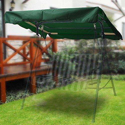 Flexzion Swing Baldachin, Grün, 184,3 x 109,9 cm, Deluxe Polyester Top Ersatz UV-Block Sonnenschutz Wasserdicht Dekoration für Outdoor Garten Terrasse Hof Park Veranda Sitzmöbel -