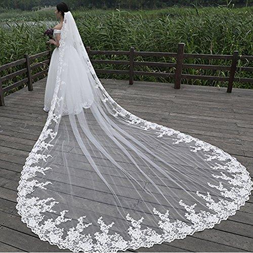 GYMAN Velo de novia Catedral Longitud de la boda velos con peine 3 m de encaje Velo largo blanco encaje accesorios