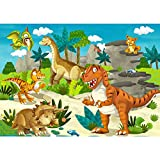 Vlies Fototapete PREMIUM PLUS Wand Foto Tapete Wand Bild Vliestapete - MY FIRST DINOS - Kindertapete Kinderzimmer Dino Dinosaurier Urzeit Trex - no. 119, Größe:200x140cm Vlies