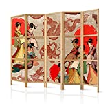 murando - Paravent XXL Geisha & Drache 225x171 cm - 5-teilig - einseitig - eleganter Sichtschutz - Raumteiler - Trennwand - Raumtrenner - Holz - Design Motiv - Deko - Japan p-B-0027-z-c