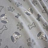 Stoff Fleece Wellness grau Pfote Hund Tatze Knochen Softplüsch