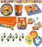64-teiliges Party Set Minions Teller, Becher, Servietten, Tischdecke, Einladungskarten, Partykette, Partytüten, Trinkhalme, Luftballons