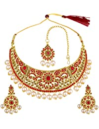 Spargz Indian Bridal Jewellery Bollywood AD Stone Ethnic Wear Necklace Set With Maang Tikka For Women AINS_259