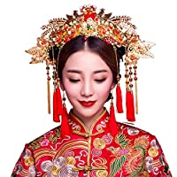 KPHY Beautiful headdress/Bridal Costume Accessories Xiu Wo Chinese Retro Han Fu Feng Guan Xia Jewelry Wedding Dress Accessories