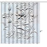 MuaToo Duschvorhang Close Up Lotus Stein geschnitzt Wand Grafiken Prints Badezimmer Decor Set mit Haken, Polyester, weiß, 36