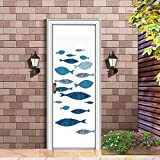 XIAOXINYUAN 3D Tür Aufkleber Kreative Fisch Tapeten DIY Abnehmbare Selbstklebende Wandbilder Für Schlafzimmer Büro Tür Aufkleber Home Decor