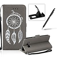 Leather Case for Samsung Galaxy S8 Plus,Strap Flip Wallet Cover for Samsung Galaxy S8 Plus,Herzzer Luxury Stylish Shining Bling Glitter Dreamcatcher Design Gray PU Leather Stand Card Holder and ID Slot Money Pouch Magnetic Clasp Slim Flip Protective Skin