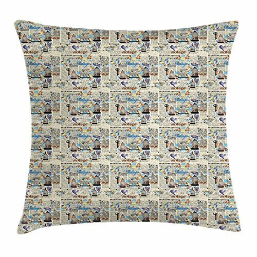 paper Throw Pillow Cushion Cover, Retro Grunge Halftone Pattern Vintage Words Antique Bird Cage Color Mosaic, Decorative Square Accent Pillow Case, 18 X 18 Inches, Multicolor ()