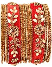 NMII Fashionable & Trendy Flower Pattern Velvet Bangle Set Studded With Zircon For Women & Girls On Wedding &...