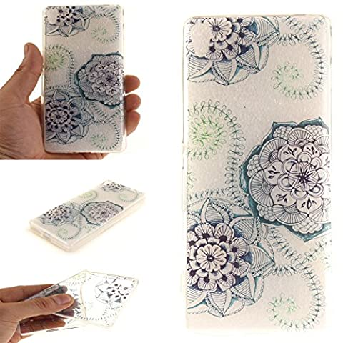 For Sony Xperia XA Case Cover, Ecoway TPU Clear Soft Silicone Back Colorful Hollow Floral Printed Pattern Silicone Case Protective Cover Cell Phone Case for Sony Xperia XA - Blue-green dream