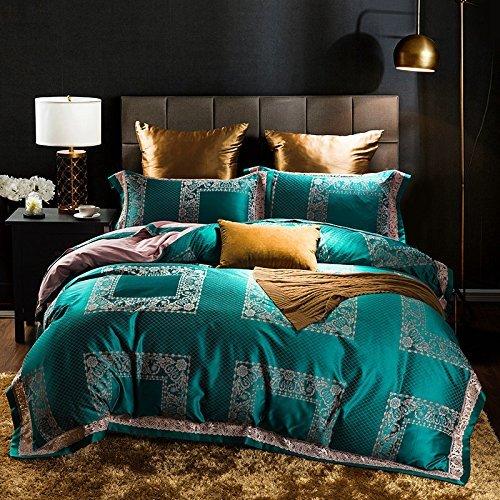 DACHUI Baumwolle hohle Spitze Bettwäsche vier Sätze von Satin langstapelige Baumwolle Doppelbett Textil, Ozean, 200 * 230 cm (Ozean-bett-satz)