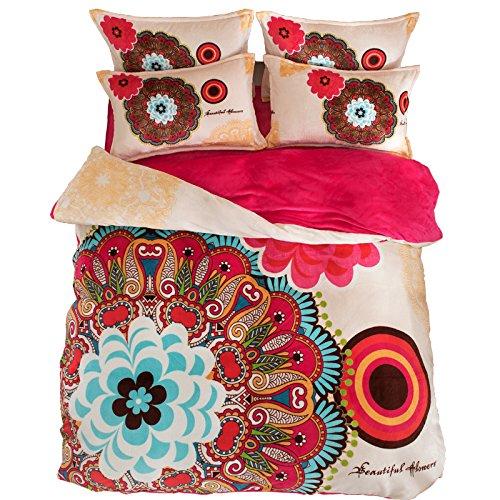 beddingleer-4Stampato Bohemian lenzuola in flanella Boho Set Copripiumino King Size bedding set 4pezzi