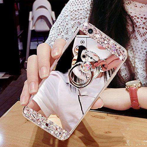Custodia iPhone 6S Plus, Cover iPhone 6 Plus, iPhone 6/6S Plus 5.5 Custodia Silicone, JAWSEU Moda Fiore Rosa Lusso Diamante Cristallo di Bling Custodia per iPhone 6S/6 Plus Protectiva Bumper Elegante  Argento