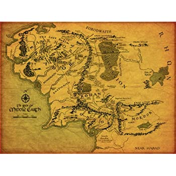 the lord of the rings middle earth map giant xl thick glossy photo paper poster art