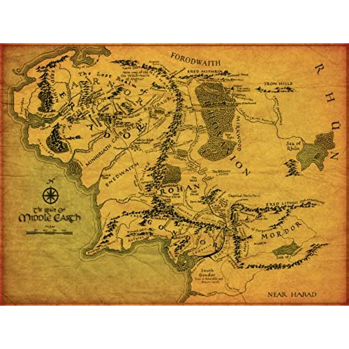 the lord of the rings middle earth map giant xl thick glossy photo paper poster art print same day shipping