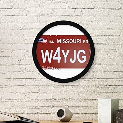 DIYthinker Usa American Car License Plate Nummer Missouri Illustration Muster rund Einfache Bilderrahmen Kunstdrucke von Paintings Startseite Wandtatto Small Schwarz (License Plate Missouri)