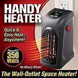 Handy Heater Estufa Eléctrica Portátil 350W enchufe eléctrica ajustable de 15a 32° bajo consumo baño casa oficina. Visto In Tv