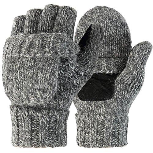 Novawo Unisex Wollmischung Häkelarbeit Cabrio fingerless Handschuhe mit Fäustlinge Abdeckung