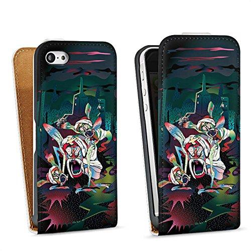 Apple iPhone 5s Housse Étui Protection Coque monstres effrayants Créature légendaire Imagination Sac Downflip blanc