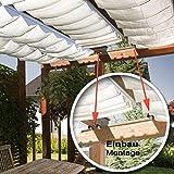 Seilspannmarkise ca. 415x140 cm weissen Sonnensegel Metall Seilspanner