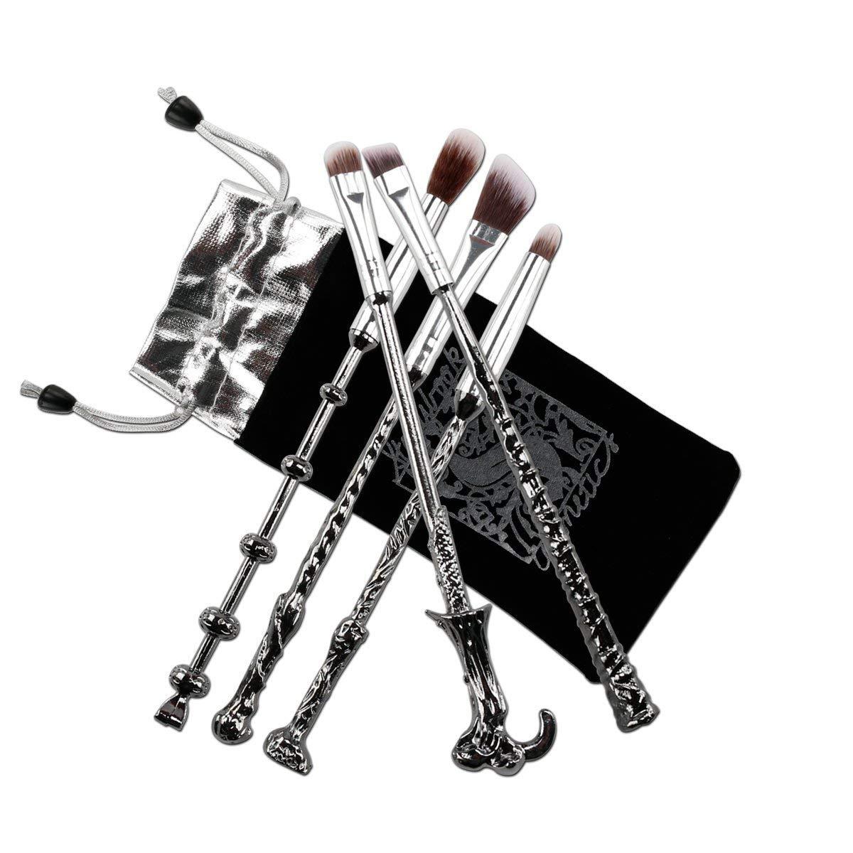 5 Pcs pinceles cepillos maquillaje cosmética Magic Harry Potter Collection regalo (Plateado)
