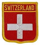 Flagge Schweiz Aufbügeln oder Aufnähen auf Motiv | National Land Flagge der Schweiz Swiss Shield Form Emblem Patches für Shirts Uniformen Ärmel Westen Fotoalben Jacken Jeans Mützen Caps Taschen Rucksäcke/Kleidung Applikationen für Kinder Erwachsene Army Military