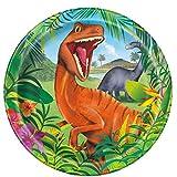 starbakery Tisch Dekoration große Teller Dinosaurier Geburtstag 8 Stück, 23 cm, Mehrfarbig