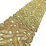 El oro bordada 9,3 cm de ancho artesanía india Tela de costura del ajuste por 1 yarda