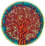 ImZauberwald Baum des Lebens & Blume des Lebens Aufnäher - heilige Geometrie(20cm, Schwarzlicht aktiv) ein handgestickter Lebensbaum Patch