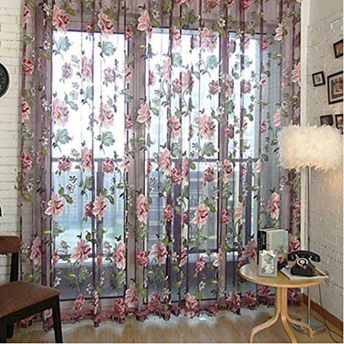 sourcingmap-floral-tulle-voile-door-window-room-curtain-drape-sheer-scarf-valances-purple-one-panel