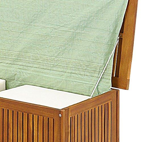 Auflagenbox mit Innenplane Holztruhe Akazienholz 117cm Kissenbox Gartenbox Gartentruhe Auflagen Truhe -